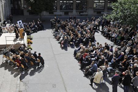 Stock Image of A General View of Guests Attending a Ceremony in Homage of Spanish Writer Intellectual and Former Culture Minister Jorge Semprun in Paris France on 11 June 2011 Semprun who Went Into Exile in France Leaving Spain with His Family After the Spanish Civil War Died on 07 June 2011 at His Home in Paris at the Age of 87 Semprun's Funeral Will Be Held Sunday 12 June 2011 As a Close Family Affair in Garantreville Near Paris France Paris