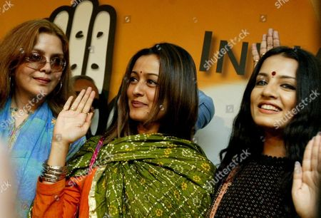 Bollywood Actresses Zeenat Aman (l) Namrata Shirodkar (c) and Celina Jaitley (r) During a Press Conference in New Delhi 05 March 2004 After They Joined India's Main Opposition Congress Party Many Celebrities Joined the Congress Party Led by Sonia Ghandi As India Heads Into Elections Expected Around April-may India New Delhi