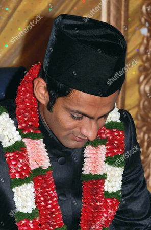 Stock Picture of Pakistani Cricketer Shoaib Malik During His Wedding Ceremony at a Hotel in the Southern Indian City of Hyderabad 12 April 2010 Tennis Star Sania Mirza Married Pakistani Cricketer Shoaib Malik at a Plush Hotel in Hyderabad Following a Controversy Malik Had Earlier Signed Divorce Papers Discontinuing His Marriage with Ayesha Siddiqui the Pakistani Cricketer Had Insisted That He was Emotionally Forced Into the 'Telephone Nikah' (wedding on Telephone) with the Hyderabad Girl Ayesha Siddiqui the Indian Girl Claiming to Be His Wife India Hyderabad