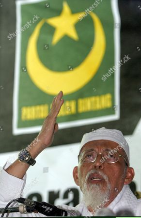 Indonesian Muslim Militant Cleric Abu Bakar Ba'asyir Delivers a Speech During His Visit at the Crescent Star Party (pbb) in Jakarta Indonesia On Monday 03 July 2005 Ba'asyir Met with Several Pbb Leaders and Gave a Speech to Pbb's Supporters Indonesia Will Effect Various Restrictive Measures On Abubakar Baasyir Including a Travel Ban Due to the Militant Clerics Inclusion On the Un's Consolidated List of Terrorists