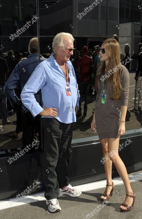 Jessica Michibata (r) Girlfriend of British Formula One Driver Jenson Button and John Button (l) the Driver's Father Talk in the Paddock at the Italian Formula One Circuit in Monza Italy 09 September 2010 the Race Will Be Held on 12 September 2010 Italy Monza