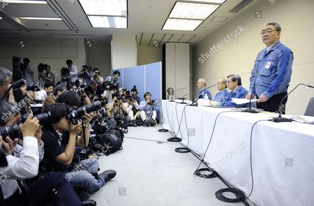 Stock Picture of Tokyo Electric Power Co (tepco) Newly Appointed President Toshio Nishizawa (r) Speaks to the Media During a News Conference at the Company Headquarters in Tokyo Japan 20 May 2011 Tepco's Former President Masataka Shimizu Resigned As the Fukushima Nuclear Crisis Generated a Loss of 1 25 Trillion Yen (15 Billion Us Dollars) the Biggest Loss For a Nonfinancial Japanese Company (excluding Financial Institutions) Japan Tokyo