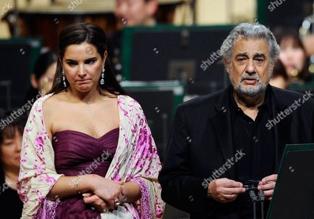 Stock Picture of Spanish Tenor Placido Domingo Addresses to the Audience Before Performing a Japanese Song Called 'Furusato' Or 'Hometown' with Argentinean Soprano Virginia Tola (l) During a Concert in Tokyo Japan 10 March 2011 Domingo Expressed His Sympathy For the Japanese People After the Country Suffered Its Worst Disaster Since Wwii with the 11 March Devastating Earthquake and Tsunami the Spanish Tenor is in Japan to Perform Two Tokyo Shows Japan Tokyo