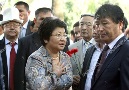 Kyrgyz President Roza Otunbayeva (c) Visits a Ceremony of Remembrance of Massacre Victims in the City of Osh 10 June 2011 Kyrgyz Officials and Representatives of Uzbek and Kyrgyz Communities Gathered to Commemorate the Hundreds of Victims Mostly Uzbeks Killed in the Massacre Which Happened in the Country's Ethnically Divided South a Year Ago Kyrgyzstan Osh