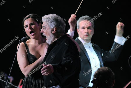 Spanish Tenor Placido Domingo (c) and Argentinian Soprano Virginia Tola (l) Perform on the Main Stage at the Opening Night of the Zouk Mikael International Festival in Zouk Mikael North of Beirut Lebanon Late 17 July 2011 the Festival Runs From 17 to 21 July 2011 Lebanon Zouk