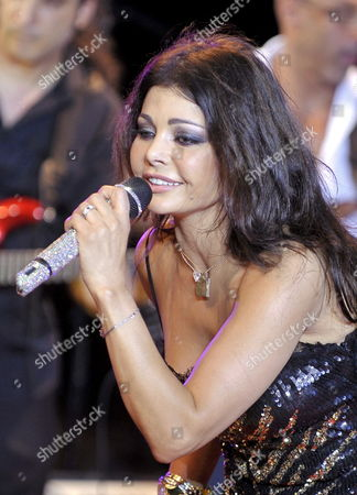 A Picture Made Available on 08 August 2009 Shows Lebanese Singer Haifa Wehbe Performing on Stage During Her Concert at a Beach Resort in Byblos (jbeil) North of Beirut Lebanon 07 August 2009 Lebanon Byblos