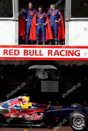 Red Bull Racing Team Drivers From L-r Dutch Robert Doombos Austrian Christian Klein and British David Coulthard Pose For Photos in Superman Costumes in Monaco in Monaco on Saturday 27 May 2006 the Monaco Grand Prix Will Take Place on 28 May Sunday Monaco Monaco
