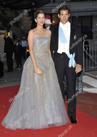 Louis De Bourbon Duke of Anjou (r) and His Wife Maria Margarita Vargas Santaella (l) Arrive For the Official Dinner and the Ball of the Wedding of Prince Albert Ii of Monaco and Princess Charlene at the Opera Garnier in Monaco 02 July 2011 French Chef Alain Ducasse Prepared the Official 450-seat Dinner Held on the Terraces of the Opera House Monaco Monaco