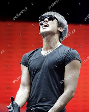 South Korean Singer Jung Ji-hoon Aka Rain Performs During a Concert at Sm Mall of Asia Open Grounds in Pasay City Philippines 11 September 2010 the Concert was His Last Performance Before He Enters the Korean Military Service Which is Compulsory For All the Male Citizens in Korea Philippines Manila
