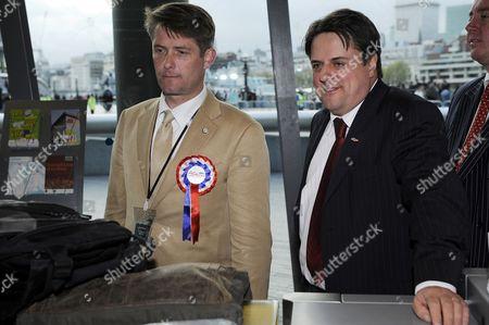BNP Mayoral candidate Richard Barnbrook and BNP leader Nick Griffin enter City Hall