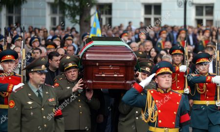 The Coffin of Late Abkhaz President Sergei Bagapsh is Carried From the Armed Forces' Culture Center During a Farewell Ceremony in Moscow Russia 30 May 2011 President Sergei Bagapsh of the Breakaway Georgian Region of Abkhazia Has Died in Moscow Hospital Following a Lung Operation Officials in the Russian Capital Said on 29 May Russian Federation Moscow