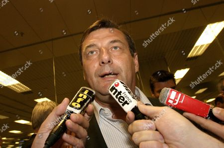 French Minister of Sports Jean-francois Lamour Speaks to Reporters After Arriving at Singapore Changi Airport on Sunday 03 July 2005 to Support the Paris 2012 Bid in the 117th International Olympic Committee Session to Be Held in Singapore on 6 July 2005 Paris is in the Running with London Madrid and Moscow For the Bid to Host the 2012 Olympic Games Singapore Singapore