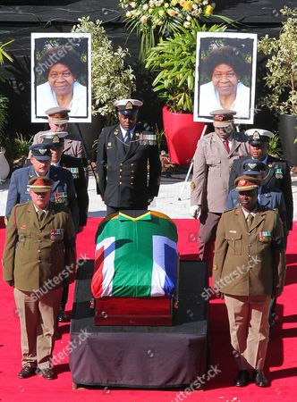 The Coffin of the Late Albertina Sisulu is Carried by the Military Honor Guard During Her State Funeral at the Orland Stadium Soweto Johannesburg South Africa 11 June 2011 Albertina Sisulu was the Wife of the Late Walter Sisulu a Founding Member of the African National Congress (anc) the Liberation Party Led by Nelson Mandela Successfully Ousted the White National Party in 1994 Thus Ending Apartheid and Freeing All Black South African's who Had Previously Had No Right to Vote South Africa Johannesburg