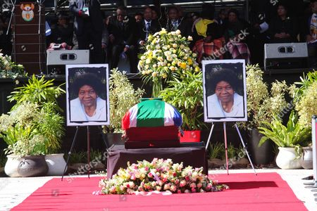 The Coffin of the Late Albertina Sisulu Sits Alone with Two Photographs of Her at the Orland Stadium Soweto Johannesburg South Africa 11 June 2011 Reports State That Albertina Sisulu was the Wife of the Late Walter Sisulu a Founding Member of the African National Congress (anc) the Liberation Party Led by Nelson Mandela Successfully Ousted the White National Party in 1994 Thus Ending Apartheid and Freeing All Black South African's who Had Previously Had No Right to Vote South Africa Johannesburg