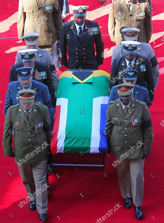 The Coffin of the Late Albertina Sisulu is Carried by the Military Honor Guard During Her State Funeral at the Orland Stadium Soweto Johannesburg South Africa 11 June 2011 Reports State That Albertina Sisulu was the Wife of the Late Walter Sisulu a Founding Member of the African National Congress (anc) the Liberation Party Led by Nelson Mandela Successfully Ousted the White National Party in 1994 Thus Ending Apartheid and Freeing All Black South African's who Had Previously Had No Right to Vote South Africa Johannesburg