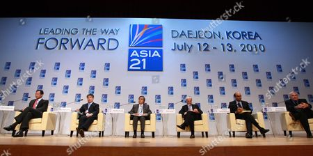 (l-r) Korn Chatikavanij Finance Minister of Thailand Kim Choong-soo Governor Bank of South Korea Haruhiko Kuroda of Japan President Asian Development Bank Peter Sands Ceo Standard Chartered Plc Tharman Shanmugaratnam Finance Minister of Singapor and Dominique Strauss-kahn of French Imf Managing Director Attend a Closing Session About ' Asia 21 : Leading Global Growth' at the Korea-inernational Monetary Fund Conference in Daejeon South Korea 13 July 2010 the South Korea-imf Conference is Held on 12-13 July in Daejeon Korea, Republic of Daejeon