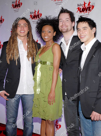 Stock Image of American Idol final four contestants Jason Castro, Syesha Mercado, David Cook and David Archuleta