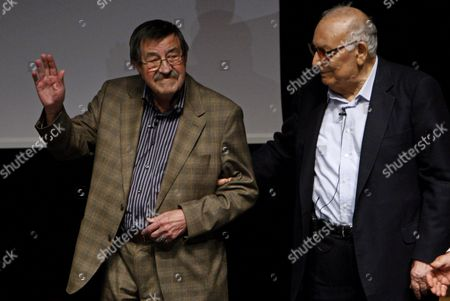 German Writer Gunter Grass (l) and Turkish Writer Yasar Kemal Arrive Before a Meeting of the Goethe-institut in Istanbul Turkey on 15 April 2010 They Met to Give a Press Conference About Turkish-german Cultural Exchange Programs Turkey Istanbul