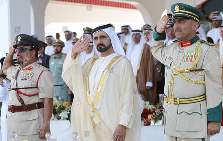From L-r Lieutenant General and Chief of the Dubai Police Force For the Emirate of Dubai Dahi Khalfan Tamim Uae Vice President Prime Minister and Ruler of Dubai His Highness Sheikh Mohammed Bin Rashid Al Maktoum and Major General Prof Mohammad Ahmad Bin Fahad Director Dubai Police Academy Attend the Police Graduation Ceremony in Dubai United Arab Emirates on 10 November 2010 Dubai Police Academy Celebrated the Graduation of the 18th Batch of Cadets of Candidates United Arab Emirates Dubai
