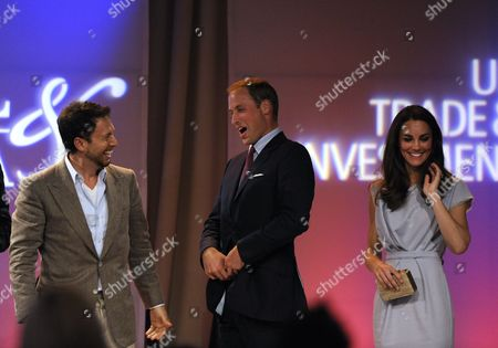 Stock Picture of Panel Moderator Chad Troutwine (l) Laughs with William (l) and Catherine (r) Duke and Duchess of Cambridge During Variety's Venture Capital and New Media Summit at the Beverly Hilton Hotel in Beverly Hills California Usa 08 July 2011 the Couple Met with Top Investment Technology and Media Leaders at the Summit United States Beverly Hills
