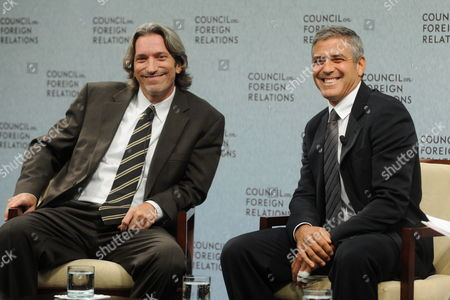 Us Actor George Clooney (r) Co-founder of 'Not on Our Watch' and Us Author and Activist John Prendergast (l) Attend an Event to Deliver Remarks on a Recent Trip to Sudan at the Council on Foreign Relations in Washington Dc Usa 12 October 2010 Clooney is in the Us Capital to Raise Awareness About Potential Conflict in Southern Sudan not on Our Watch is a Charity Organization with the Mission of Focusing Global Awareness on Ending Mass Atrocities United States Washington