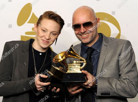 British Band La Roux with Eleanor Kate Jackson (l) and Ben Langmaid Pose with Their Award For Best Electronic/dance Album in the Photo Room at the 53rd Annual Grammy Awards at Staples Center in Los Angeles California Usa 13 February 2011 United States Los Angeles