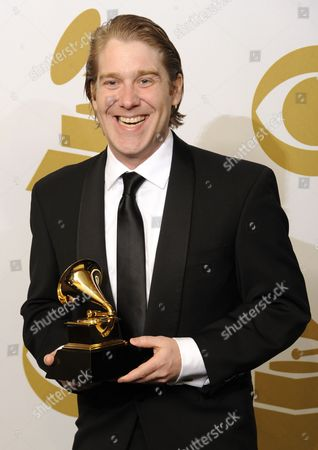 Stock Picture of Us Singer Daniel Belcher Holds His Award For Best Opera Recording in the Photo Room at the 53rd Annual Grammy Awards at Staples Center in Los Angeles California Usa 13 February 2011 United States Los Angeles