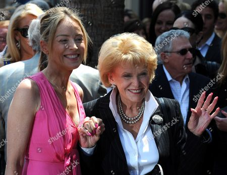 Us Actress Sharon Stone (l) Holds the Hand of Us Singer Jane Morgan (r) Prior to a Ceremony Honoring Morgan with a Star on the Hollywood Walk of Fame in Hollywood California Usa 06 May 2011 Morgan Received the 2439th Star on the Hollywood Walk of Fame United States Hollywood