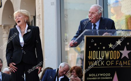Stock Picture of Us Singer Jane Morgan (l) Laughs As Her Husband Us Movie Mogul Jerry Weintraub (r) Introduces Her During a Ceremony Honoring Morgan with a Star on the Hollywood Walk of Fame in Hollywood California Usa 06 May 2011 Morgan Received the 2439th Star on the Hollywood Walk of Fame United States Hollywood