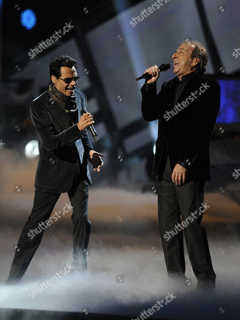 Us Singer Marc Anthony (l) and Spanish Singer Jose Luis Perales Perform at The11th Annual Latin Grammy Awards in Las Vegas Nevada Usa 11 November 2010 Latin Grammy Awards Recognizes Artistic And/or Technical Achievement not Sales Figures Or Chart Positions and the Winners Are Determined by the Votes of Their Peers-the Qualified Voting Members of the Academy United States Las Vegas