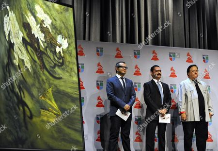 Mexican Singer/songwriters Aleks Syntec (l) and Mario Quintero Lara (c) Along with Cuban Horn Player Arturo Sandoval (r) Wait For Their Turn to Make a Nominations Announcement During Press Conference For the 11th Annual Latin Grammy Awards in Los Angeles California Usa 08 September 2010 the Latin Grammy Awards Recognize Excellence and Create a Greater Public Awareness of the Cultural Diversity and Contributions of Recording Artists the Awards Ceremony Will Take Place on 11 November in Las Vegas United States Los Angeles