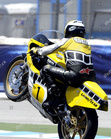 Kenny Roberts of the Us Wheelies During an Exhibition Lap the Yamaha Yzr 500 Between Races at the Us Grand Prix at Mazda Raceway Laguna Seca in Monterey California Usa 24 July 2011 'King Kenny' Roberts Won the 1980 World Championship on the Yzr 500 Yamaha United States Monterey