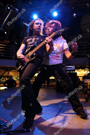 Stock Picture of A Photo Made Available on 30 January 2011 Shows Elias Viljanen (l) and Tony Kakko of the Finnish Band Sonata Arctica Performing at the 70 000 Tons of Metal Festival Cruise Majesty of the Seas Cruise Ship in an Undislcosed Location at the Caribbean Ocean 25 January 2011 the Four Day Cruise Featured 43 Heavy Metal Bands and was Attended by Citizens of Over 38 Countries United States Null