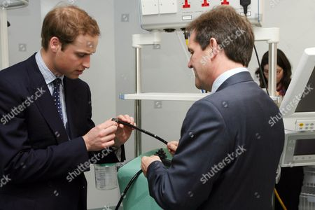 Prince William meeting Prof David Cunningham, Consultant at the Gastro-intestinal unit and inspecting the camera in the new Endoscopy Unit