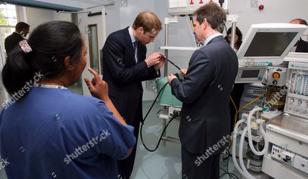 Prince William inspecting the equipment with Prof David Cunningham Consultant at the Gastro-intestinal unit and Sister Jag Grewal Senior Sister of Theatres in the new Endoscopy Unit