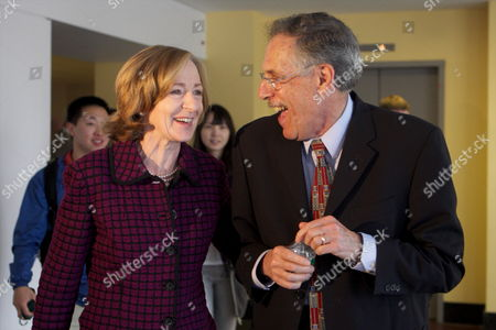 Mit Professor of Economics Peter Diamond and Mit President Susan Hockfield Laugh As They Leave a Press Conference Announcing Diamond's Winning of the 2010 Nobel Prize in Economic Sciences at the Mit Campus in Cambridge Mass Usa on 11 October 2010 Hours After Being One of Three Awarded the Nobel Prize in Economic Sciences United States Cambridge