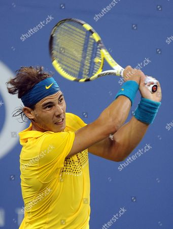 Rafael Nadal of Spain Returns a Shot From Nicolas Kiefer of Germany During the Fifth Day of the 2009 Us Open Tennis Championship at the Usta National Tennis Center in Flushing Meadows New York Usa 04 September 2009 the Open Runs Through Sunday 13 September 2009