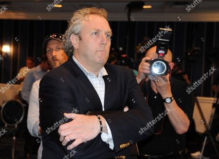 Conservative Blogger Andrew Breitbart Watches Democrat Congressman Anthony Weiner (unseen) Holding a Press Conference at a Hotel in New York New York Usa on 06 June 2011 where Weiner Admitted That He Had Communicated with Women Online Before and After His Marriage and Sent Them Explicit Photos United States New York