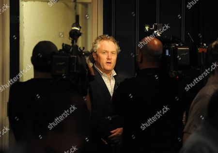 Conservative Blogger Andrew Breitbart Does an Interview While Democrat Congressman Anthony Weiner (unseen) Holds a Press Conference at a Hotel in New York New York Usa on 06 June 2011 where Weiner Admitted That He Had Communicated with Women Online Before and After His Marriage and Sent Them Explicit Photos United States New York