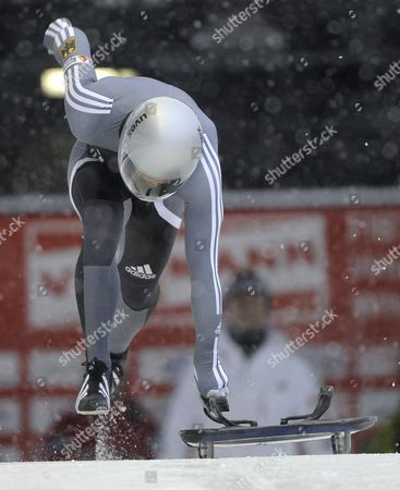 Stock Photo of Michi Halilovic of Germany in Action During the First Run of the Men?s Skeleton Competition at the 2010 Viessmann Fibt World Cup Skeleton in Whistler Canada 26 November 2010 Canada Whistler