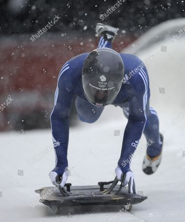 Kristan Bromley of Great Britain in Action During the First Run of the Men's Skeleton Competition at the 2010 Viessmann Fibt World Cup Skeleton in Whistler Canada 26 November 2010 Canada Whistler