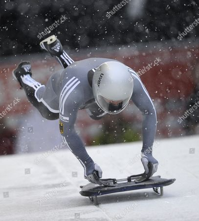 Stock Image of Michi Halilovic of Germany in Action During the First Run of the Men's Skeleton Competition at the 2010 Viessmann Fibt World Cup Skeleton in Whistler Canada 26 November 2010 Canada Whistler