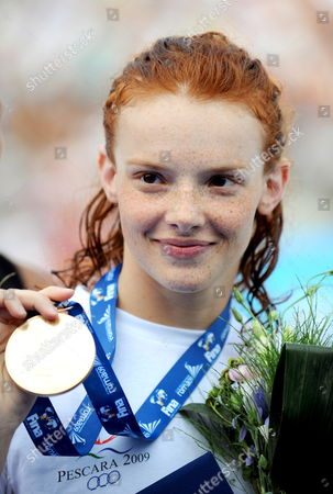 Nadja Higl of Serbia Celebrates with Serbian Flag After Women's 200m Breaststroke Final at the 13th Fina World Championship in Foro Italico Swimming Complex in Rome Italy on 31 July 2009 Higl Won the Gold Medal Annamay Pierse of Canada Silver and Mirna Jukic of Austria Bronze Italy Rome