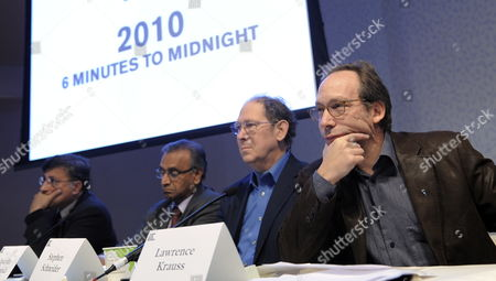 From Left Scientists Pervez Hoodbhoy Jayantha Dhanapala Stephen Schneider and Lawrence Krauss Listen to a Question Following the Announcement by the Bulletin of Atomic Scientists of an Adjustment of the Minute Hand of the 'Doomsday Clock' From 5 to 6 Minutes Before Midnight at the New York Academy of Sciences in New York New York Usa 14 January 2010 the 'Doomsday Clock' was Created in 1947 by the Bulletin of Atomic Scientists As Way to Communicate the Imagery of the Apocalypse Represented by Midnight and the Countdown of a Nuclear Explosion United States New York