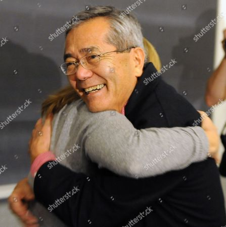 Distinguished Professor of Chemistry Ei-ichi Negishi Co-winner of the Nobel Prize in Chemistry Gets a Hug From a Colleague As He Arrives to Teach His Sophomore Chemistry Class at Purdue University in West Lafayette Indiana Usa 06 October 2010 Negishi Will Share the Award with Richard F Heck of the University of Delaware and Akira Suzuki of Hokkaido University of Sapporo Japan United States West Lafayette