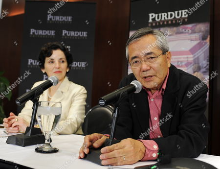 Distinguished Professor of Chemistry Ei-ichi Negishi Co-winner of the Nobel Prize in Chemistry Answers Questions As Purdue University President France a Cordova (l) Listens As They Meet with the Media at the Dauch Alumni Center at Purdue University in West Lafayette Indiana Usa 06 October 2010 Negishi Will Share the Award with Richard F Heck of the University of Delaware and Akira Suzuki of Hokkaido University of Sapporo Japan United States West Lafayette