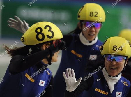 Lee Eun-byul (r) Cho Ha-ri (c) and Park Seung-hi of South Korea Calibrate After the Ladies 1500m Final Race at Samsung Isu World Cup Short-track in Sofia Bulgaria 19 March 2010 Bulgaria Sofia