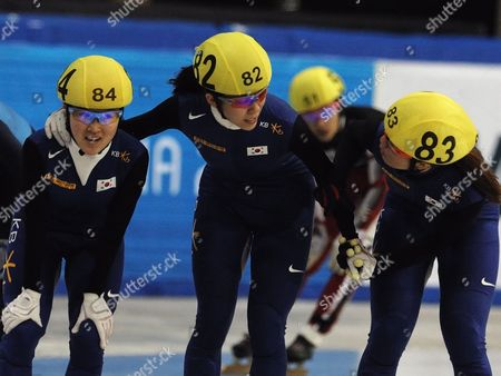 Lee Eun-byul (l) Cho Ha-ri (c) and Park Seung-hi (r) of South Korea Calibrate After the Ladies 1500m Final Race at Samsung Isu World Cup Short-track in Sofia Bulgaria 19 March 2010 Bulgaria Sofia
