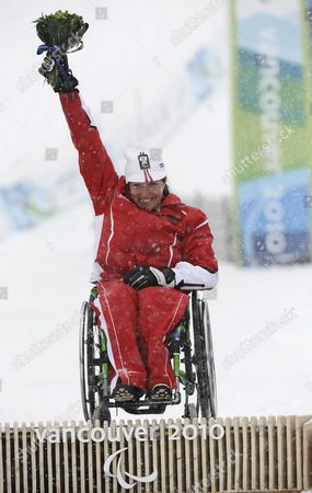 Austria's Claudia Loesch Celebrates Her Gold Medal Win at the Women's Slalom-sitting Competition at the Vancouver 2010 Paralympic Games 14 March 2010 Canada Whistler