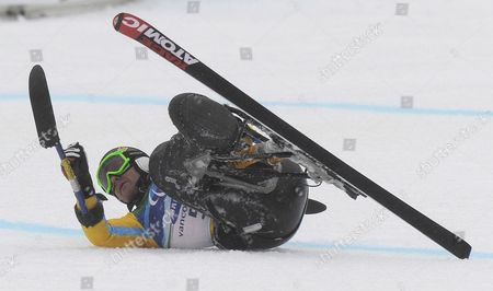 Martin Braxenthaler of Germany Sorts Himself out After Crashing in the Finish at the Men?s Giant Slalom Sitting Competition at the Vancouver 2010 Paralympic Games 16 March 2010 Braxenthaler Won Gold in the Event Canada Whistler